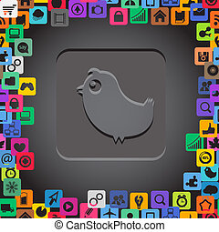 Abstract communication symbol with media icons