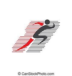 abstract, communie, illustraties, man lopend, ontwerp, vector, logo