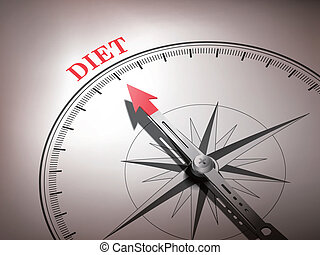abstract compass needle pointing the word diet