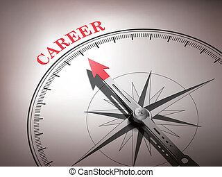 abstract compass needle pointing the word career in red and...