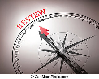 abstract compass needle pointing the word review in red and white tones