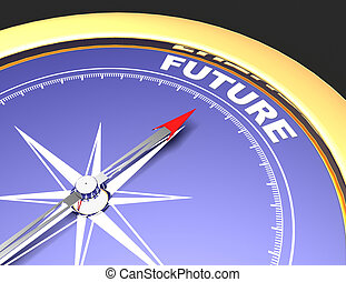 Abstract compass with needle pointing the word future. future concept