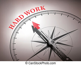 abstract compass with needle pointing the word hard work