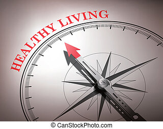 abstract compass with needle pointing the word healthy living