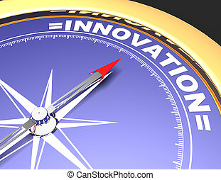 Abstract compass with needle pointing the word innovation. innovation concept