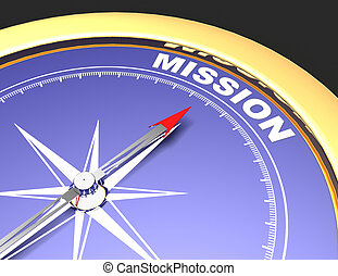 Abstract compass with needle pointing the word mission. mission concept