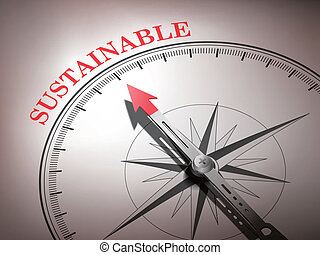 abstract compass with needle pointing the word sustainable