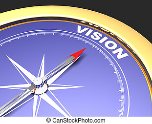 Abstract compass with needle pointing the word vision. vision concept