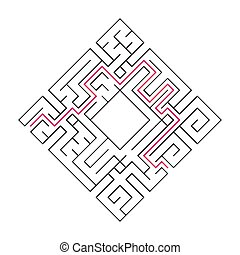 Abstract complex labyrinth. Black stroke on a white background. An interesting puzzle game for children. Vector illustration. With the right way.