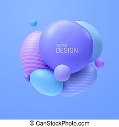 Abstract composition with 3d spheres cluster. Colorful ...