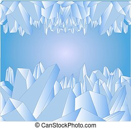 Abstract composition with blue crystals of ice