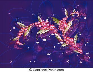 Abstract composition with branch of Sakura flowers on a dark blue background with stars, sparkles and drops of dew. EPS10 vector illustration