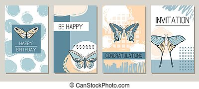 Abstract composition with butterfly