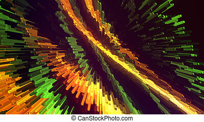 Abstract composition with colored lines of square shapes, modern background, 3d computer generated illustration