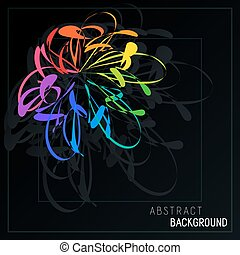 Abstract Composition with Stylized Colorful Flower on Dark Backdrop.
