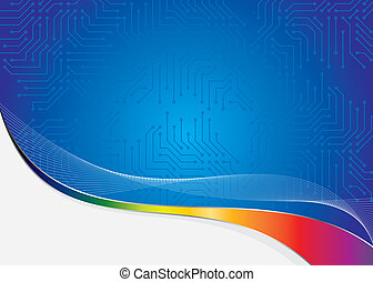 abstract computer board frame - blue frame as abstract...