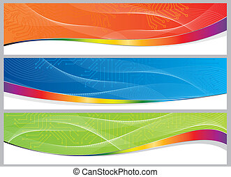 abstract computer board frame set - set of three colorful ...