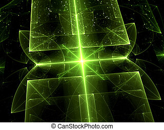 Abstract computer-generated image green glass on a black background