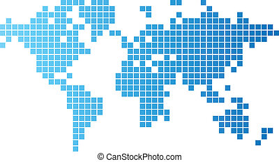 World map of blue tiles - Abstract computer graphic World...