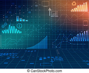 abstract computer graphics business financial statistics. -...