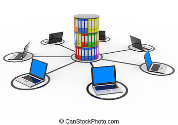 Abstract computer network with laptops and archive or...
