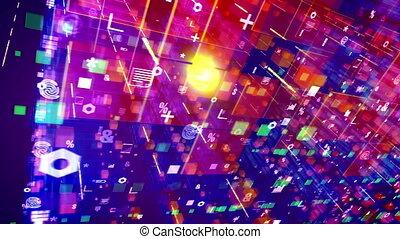 """Abstract computer symbols moving aslant"""