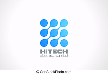 abstract., concept., molekül, electornics, logo, technologie