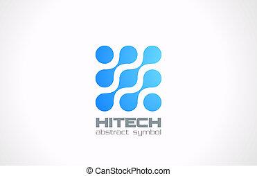 abstract., concept., molekül, electornics, logo, technologie
