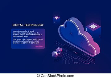 Abstract concept of digital cloud computing, cloud data storage, server room, database and data warehouse, website landing page vector