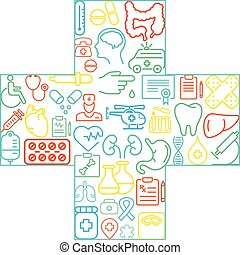Abstract concept of medicine Medicals icons texture in cross shape composition background - vector illustration