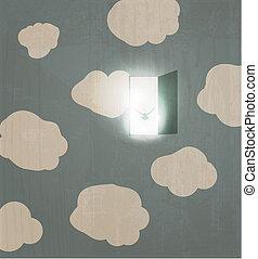 Abstract concept poster. Dove flies through the door in the sky. Spirit