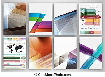Abstract concept vector icons and creative brochure template