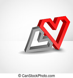 Abstract Concept With Red Hearts.