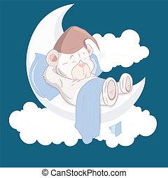 Teddy Bear Sleeping on Moon Cartoon