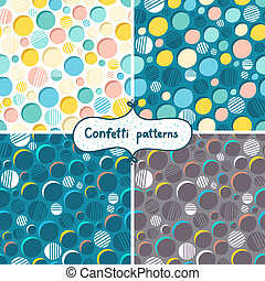 Abstract confetti seamless patterns