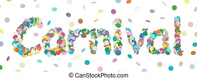 Abstract Confetti Word - Carnival Letter - Colorful Panorama Vector Illustration