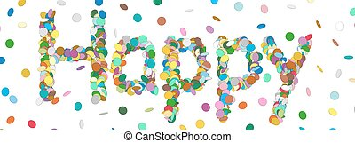 Abstract Confetti Word - Happy Letter - Colorful Panorama Vector Illustration