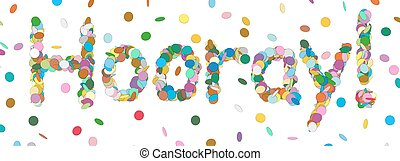 Abstract Confetti Word - Hooray Letter - Colorful Panorama Vector Illustration