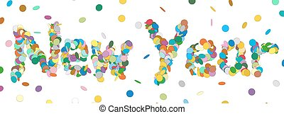 Abstract Confetti Word - New Year Letter - Colorful Panorama Vector Illustration