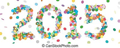 Abstract Confetti Year Date - 2015 - Colorful Panorama Vector Illustration