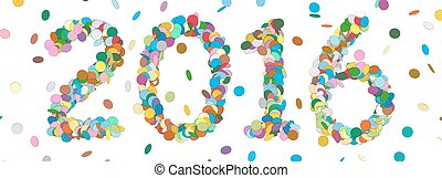 Abstract Confetti Year Date - 2016 - Colorful Panorama Vector Illustration