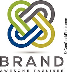 Abstract connect color business company logo. Corporate identity design element. Social media, internet, network integrate, technology interaction concept