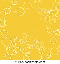 Abstract connection structure. Vector science background. Molecule on yellow background