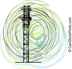 Abstract construction crane. Vector illustration