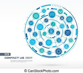 Abstract contact us, call center background. Digital connect system with integrated circles, glowing thin line icons.