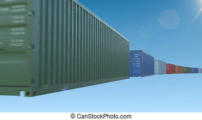 Abstract Containers Moving on Blue Sky Seamless. Looped 3d...