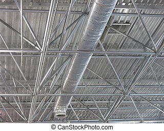 Abstract contemporary metallic structures roofing technology...