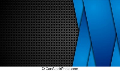 Abstract corporate motion background with perforation and blue geometric stripes. Seamless looping. Video animation Ultra HD 4K 3840x2160