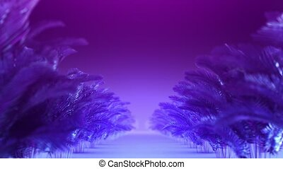 Abstract corridor of blue-violet plants