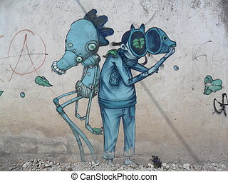 Abstract Couple - Two creatures painted in a wall